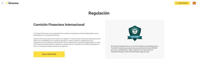 Binomo regulación